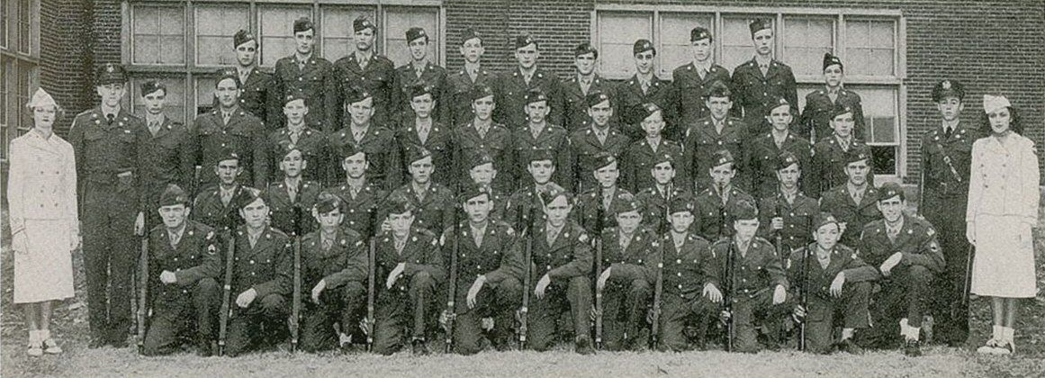ROTC, 1951. First row from the top, fourth from right: George Klein. Second row from the top, seventh from right: Elvis Presley. This picture was printed in the 1951 issue of The Herald.