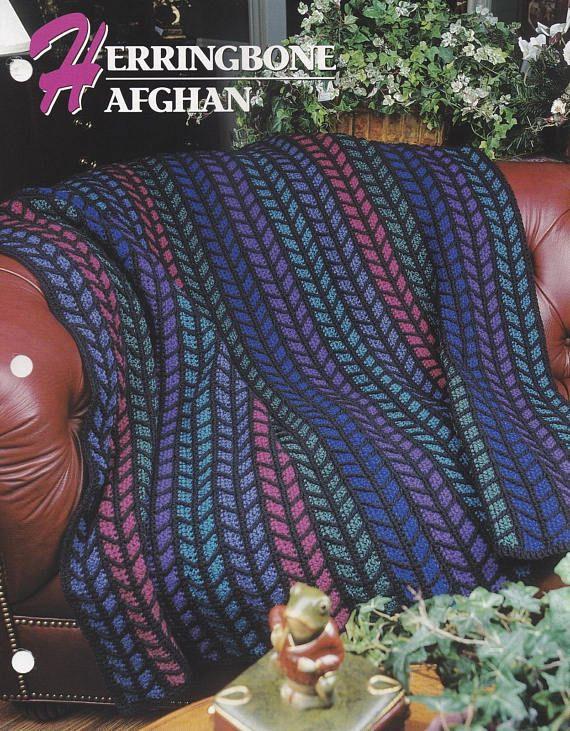 Herringbone Afghan Annies Attic Crochet Quilt Afghan Pattern