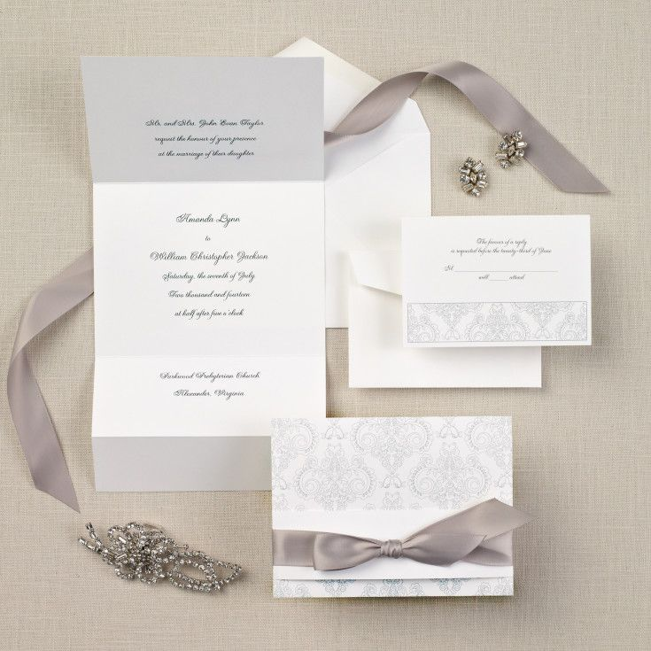 Exclusively Wedding's Elegant damask wedding invitation is a damask design. Creates definition with its tri-fold style. Pre-cut satin ribbon included.