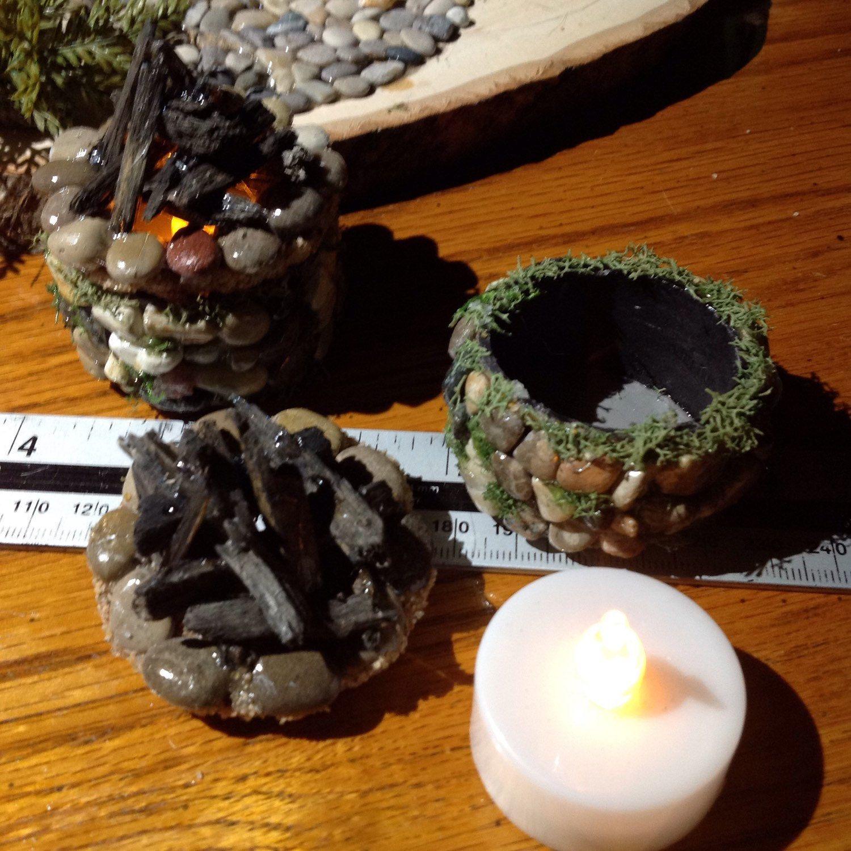 Handmade Miniature Tealight Firepit Rv Camper Decoration Fairy