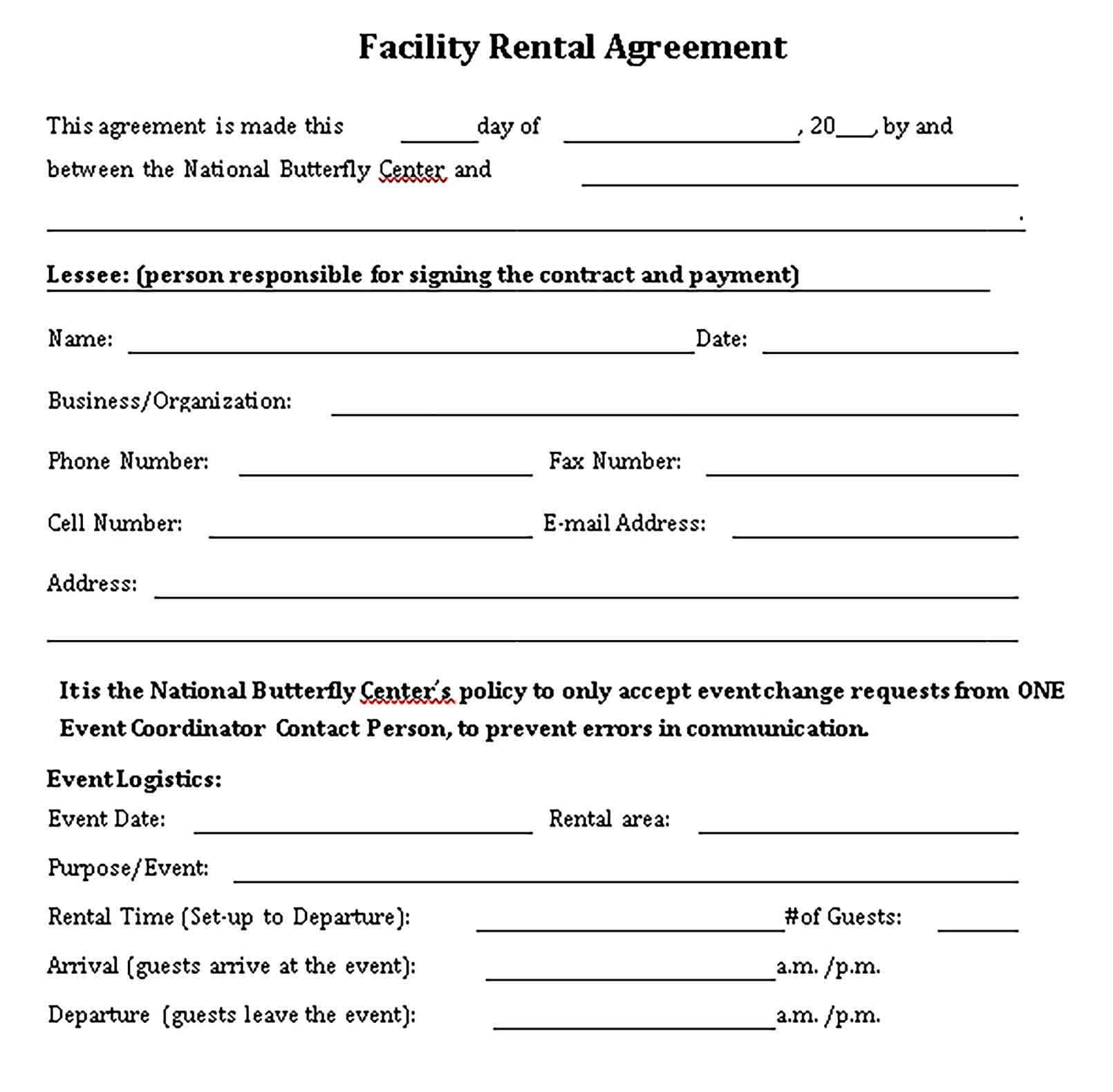 Facility Rental Agreement Template Sample Rental Agreement Templates Business Template Facility