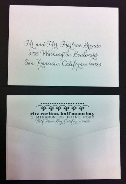 Calligraphy For Envelope Addressing Using Hand Pro And Return Address Printing On The Flap With Design Motifs