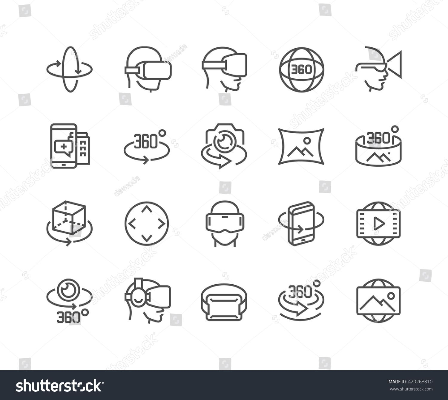 Simple Set of 360 Degree Image and Video Related Vector