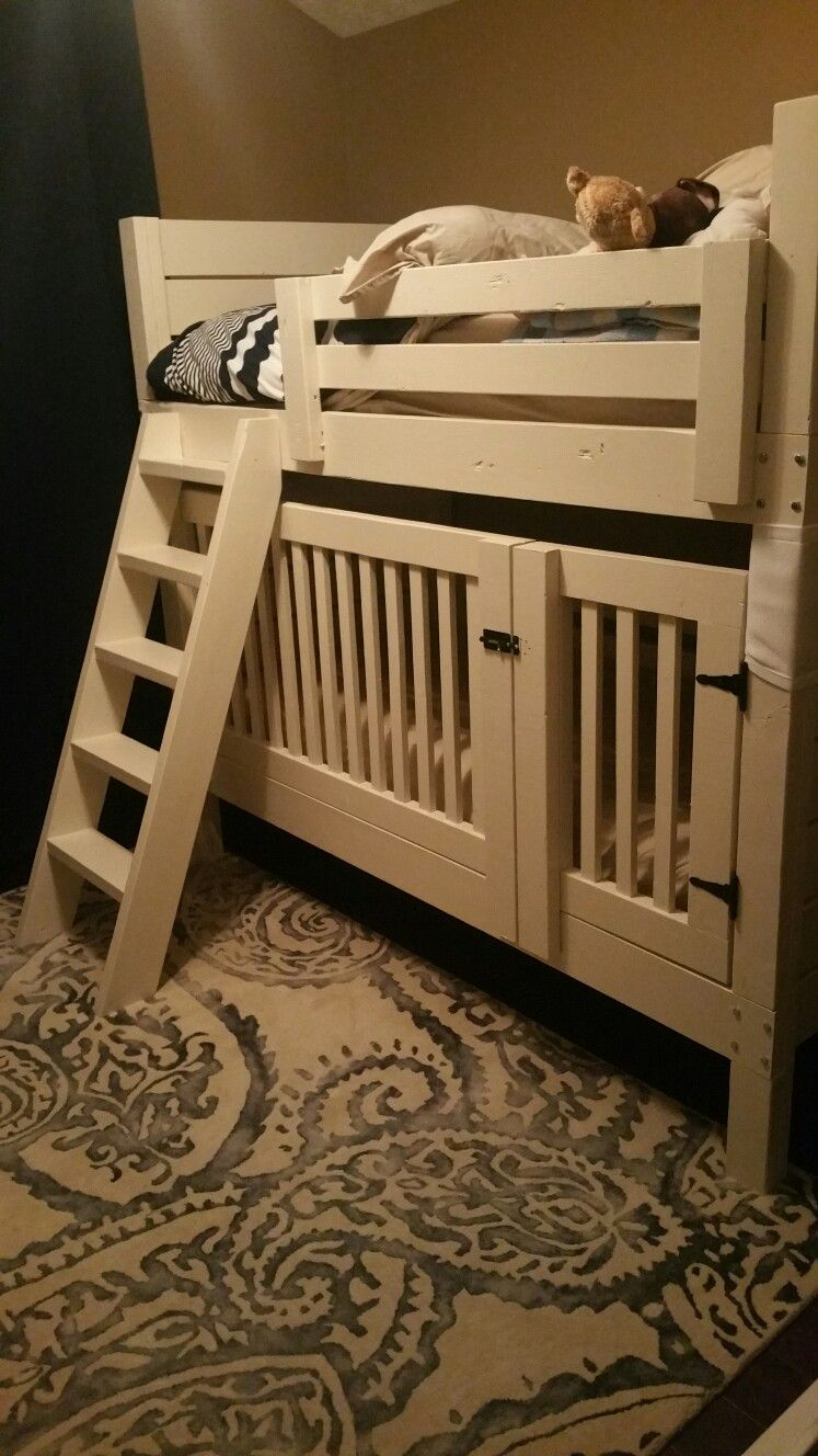 DIY Ana White bunkbed with crib modification. Bunk beds