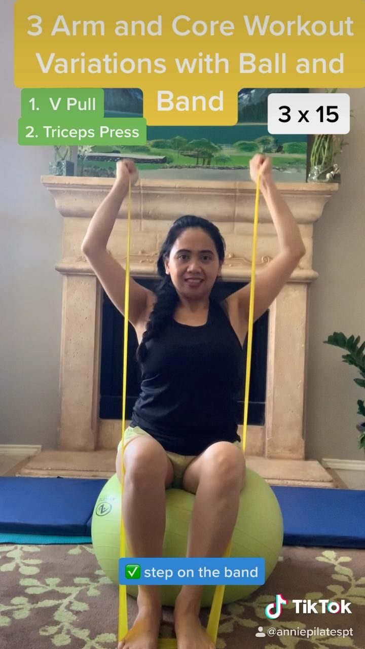 Elastic Band and Exercise Ball Workout Targeting Arms and Core Muscles