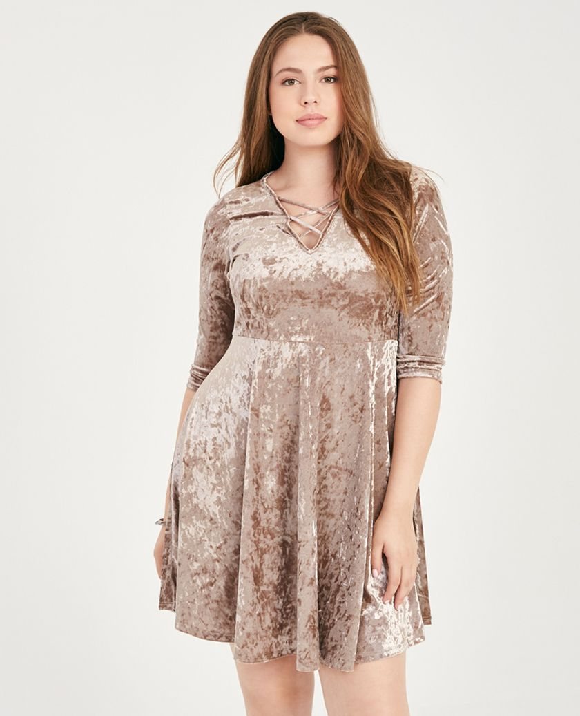 Plus Size Crushed Velvet Strappy-Front Skater Dress | Wet ...