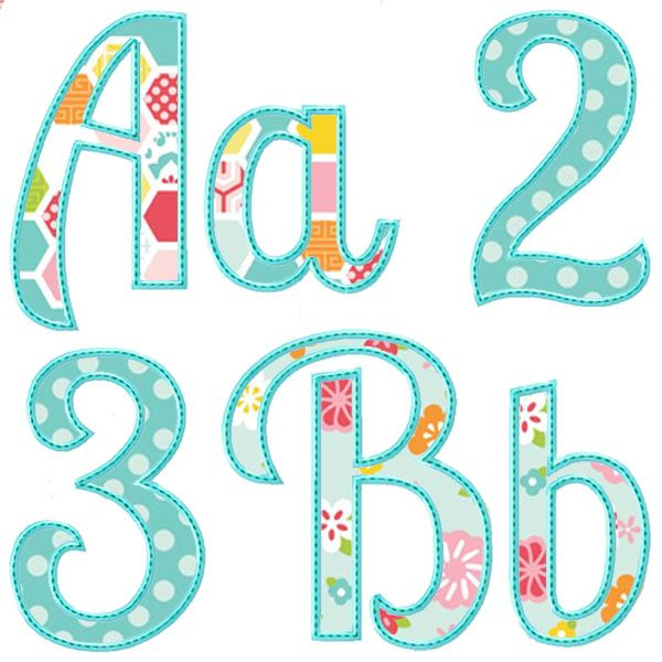 Summer applique alphabet appliques pinterest summer for Embroidered alphabet letters