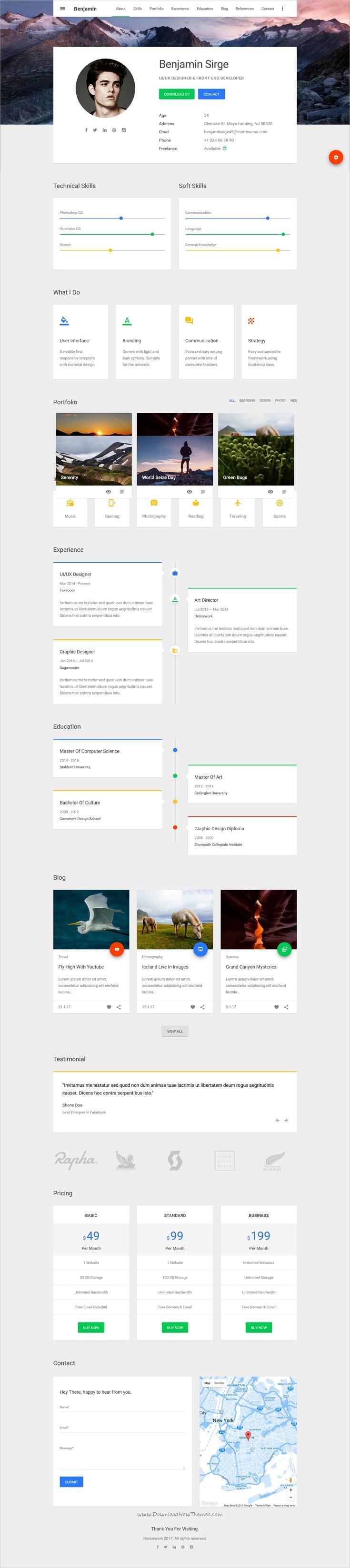 Großartig One Page Vcard Lebenslauf Portfolio Website Vorlage ...