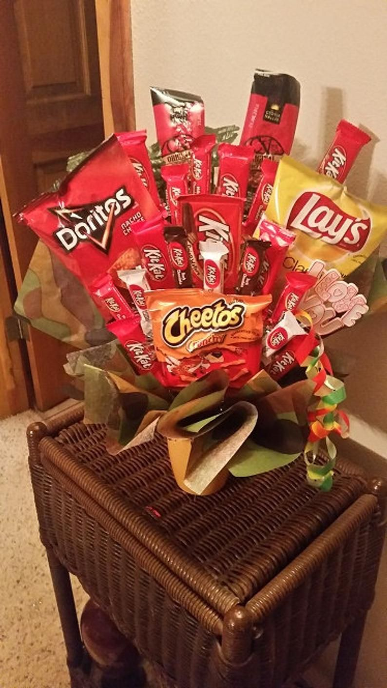 Happy Birthday Valentine's Candy Bouquet with Jerky Chips