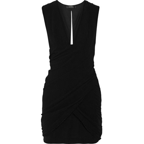 Isabel Marant Gabisse ruched cotton-gauze mini dress (€250) ❤ liked on Polyvore featuring dresses, black, rouched dress, mini dress, shirred dress, short ruched dress and isabel marant dresses