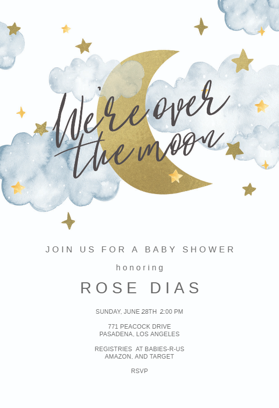 Over The Moon Baby Shower Invitation Template Greetings Island Moon Baby Shower Invitation Moon Baby Shower Boy Shower Invitations