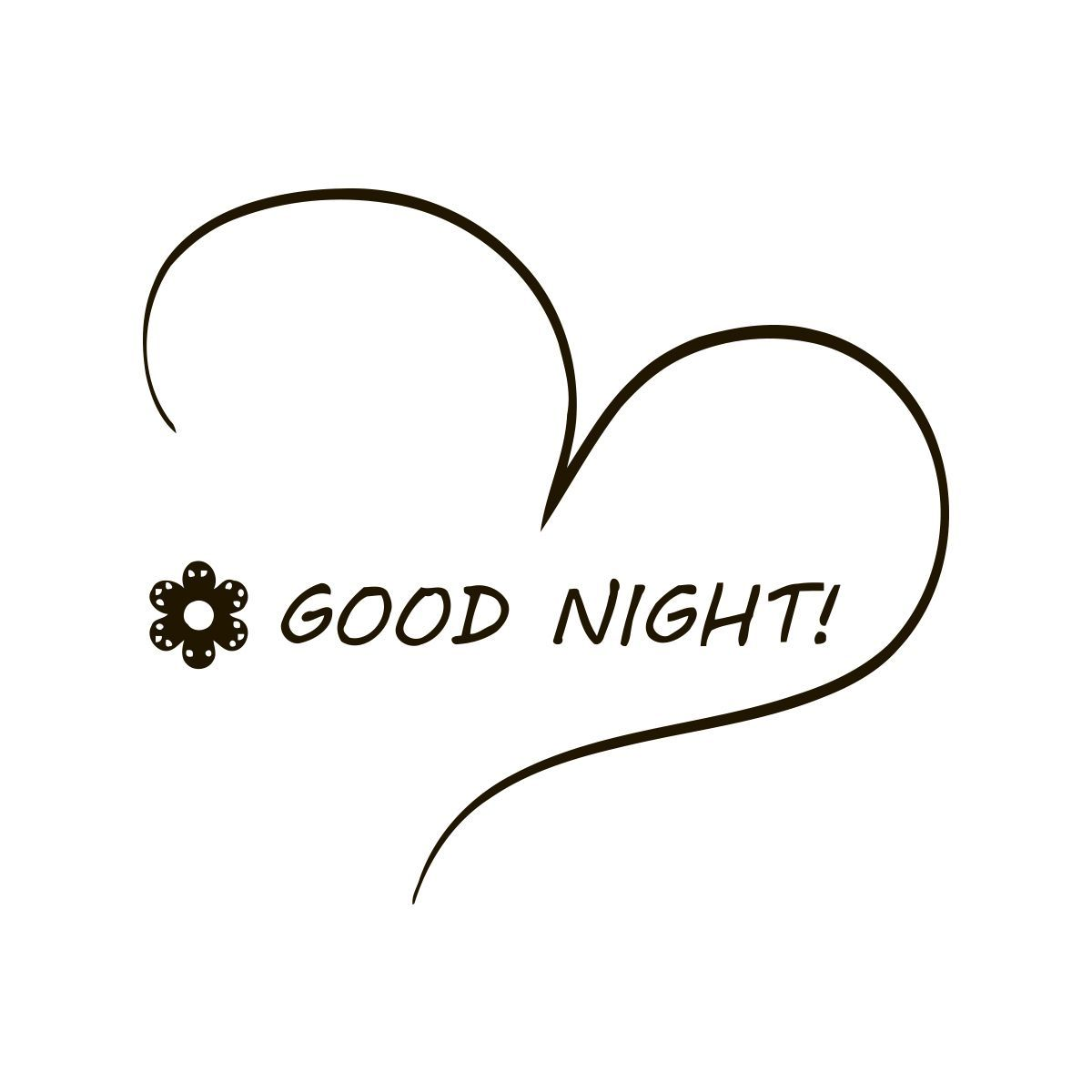 Good Night Heart Quote Vinyl Wall Decal