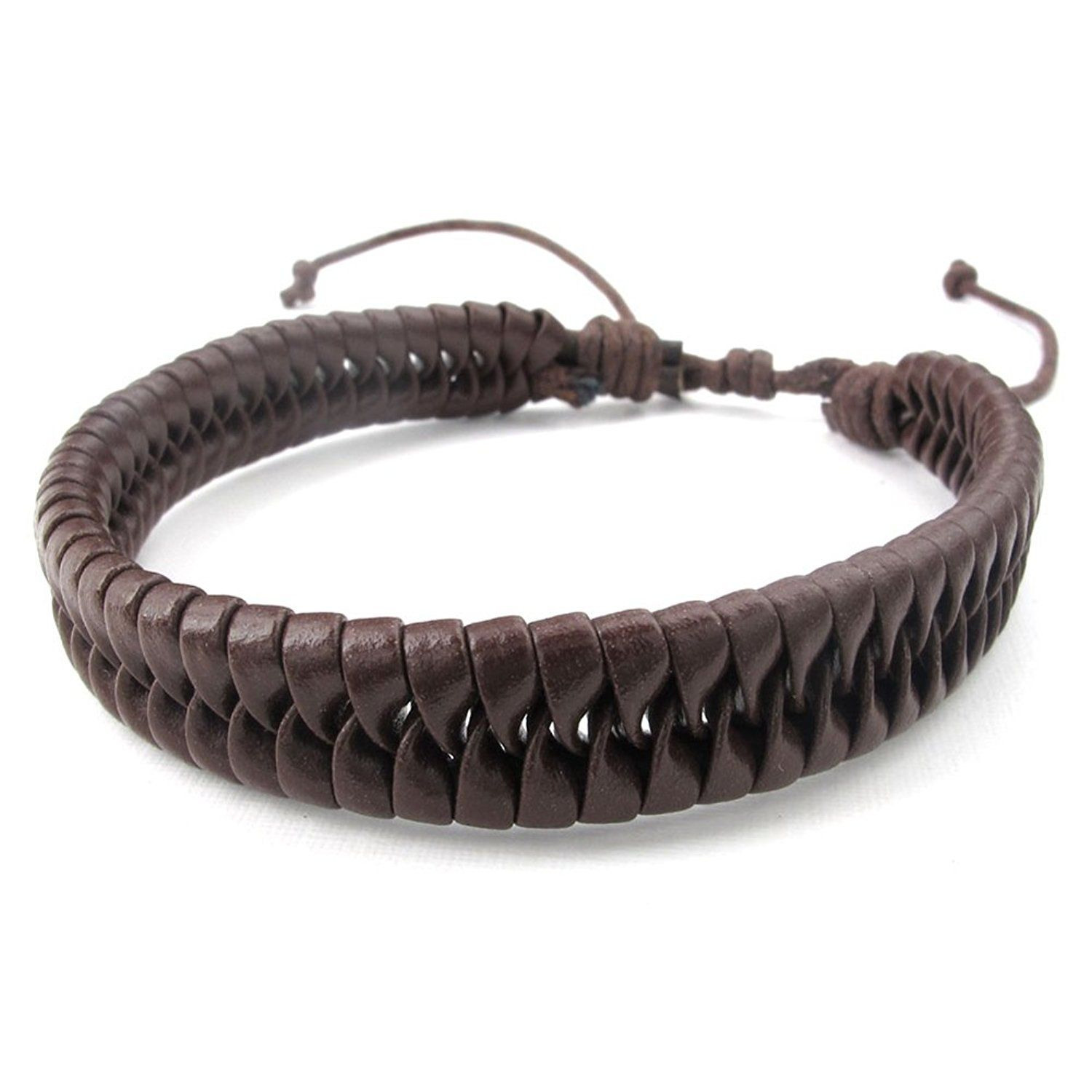 Brown TEMEGO Jewelry Mens Leather Rope Cord Bracelet