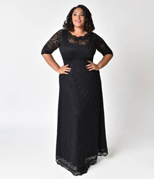 5ec0ceacf2ba8 Plus Size Black Onyx Sleeved Leona Lace Gown