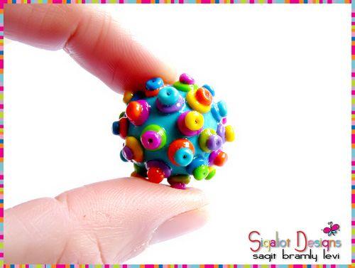 Hedgehog polymer clay beads