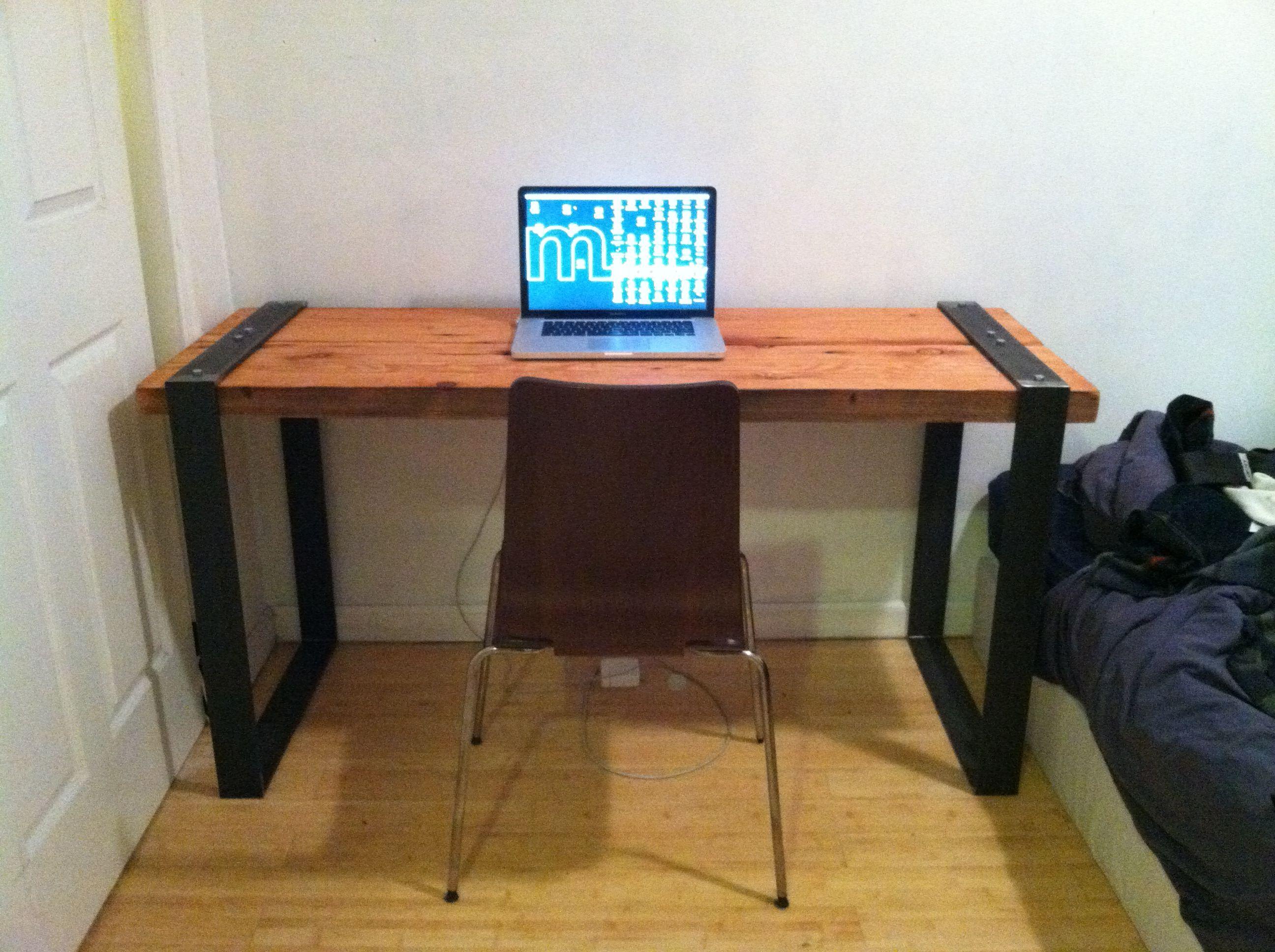Hand Made Desk industrial reclaimed wood and blackened steel desk - diy