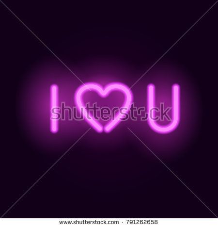 Download Neon letters. I love you. Vector realistic glowing neon ...