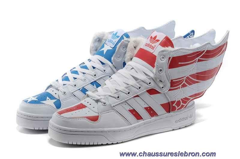 Chaud Adidas X Jeremy Scott Wings 2.0 USA Flag Villi Chaussures Rouge Bleu