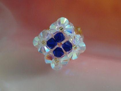 Bague losange bleue et blanche en perles de Cristal Swarovski ...