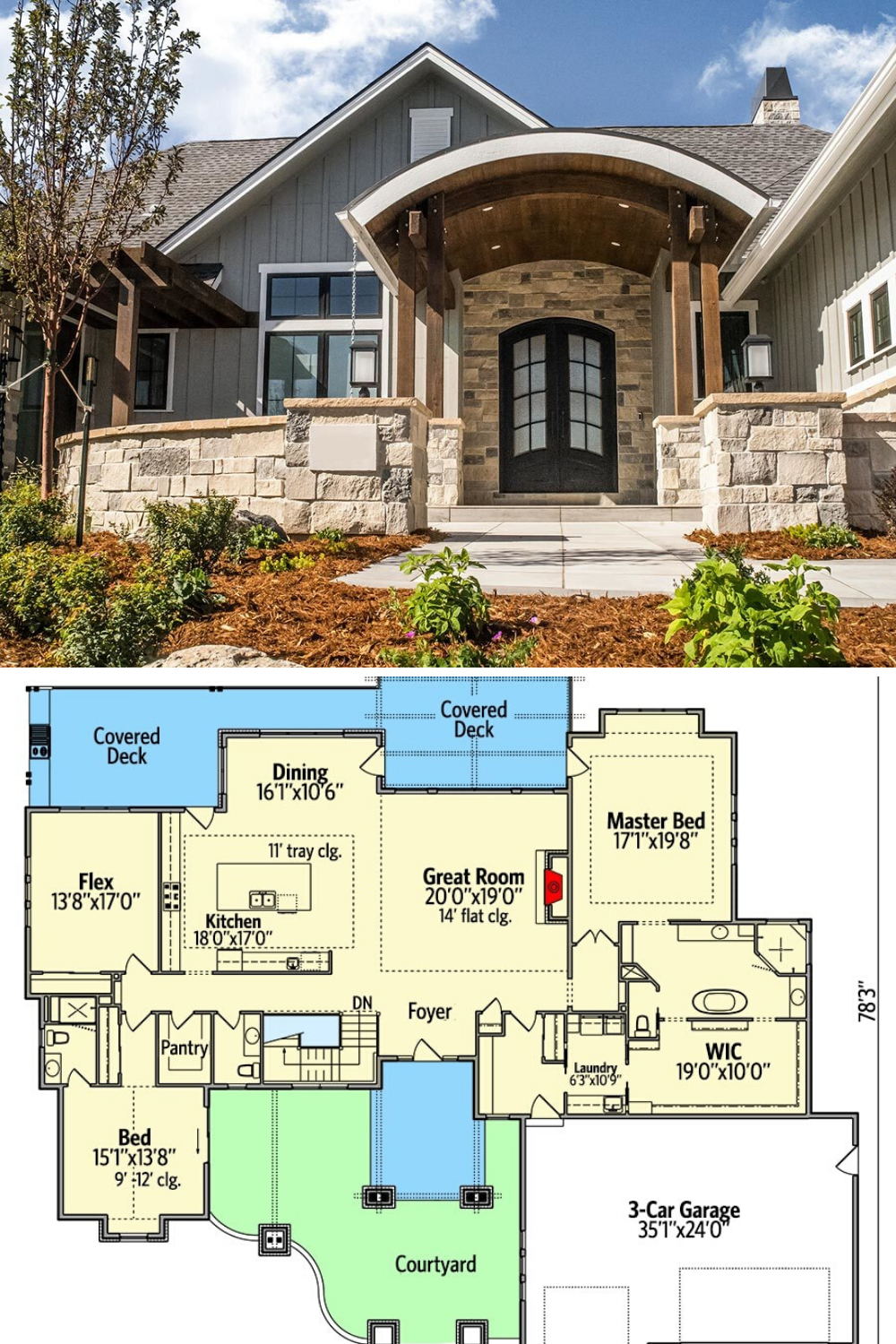 4 Bedroom Single Story New American Home With Large Rear Porch Floor Plan American Houses Craftsman House Plans Lake House Plans