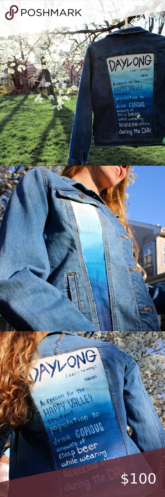 PSU DAYLONG Jean Jacket Custom-Painted Penn State Daylong Definition Blue Jean Jacket Universal Thread Jackets & Coats Jean Jackets