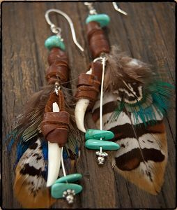 SPELL Brown Navajo Feather Earrings