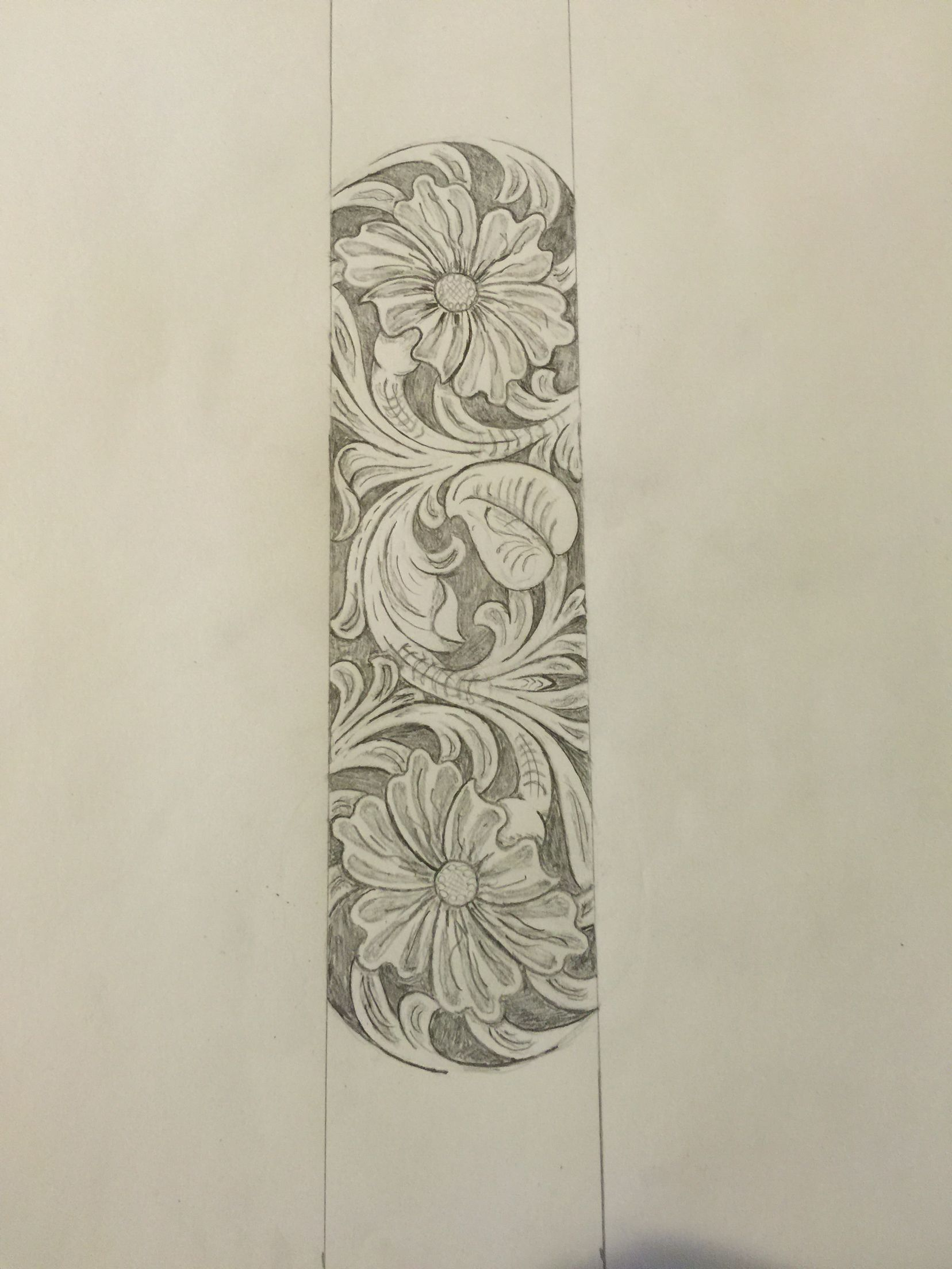 Sheridan style leather tooling pattern for guitar strap