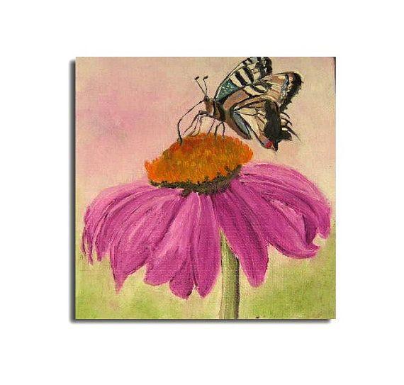 Schmetterling auf BlumeSonnenhutMiniatur von oilpaintingflowers, €24.00