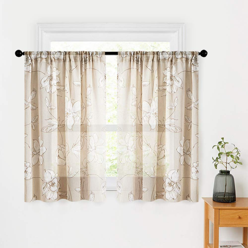 MRTREES Flower Printed Sheer Tier Curtains Kitchen Tiers