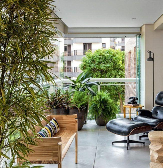 Balkon Sichtschutz Glasgelander-kuebelpflanzen-holz