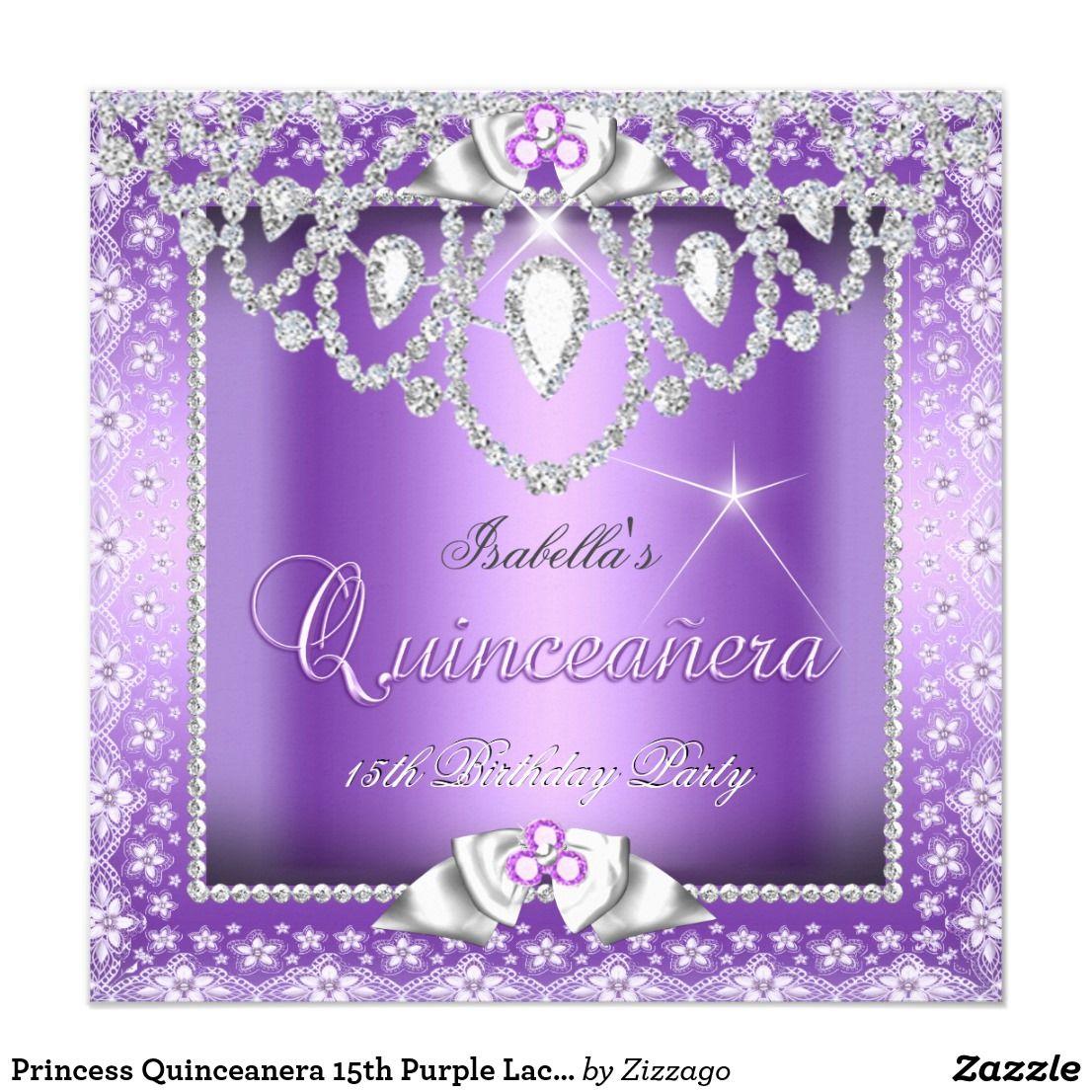 Princess Quinceanera 15th Purple Lace Diamond Card   15th birthday ...