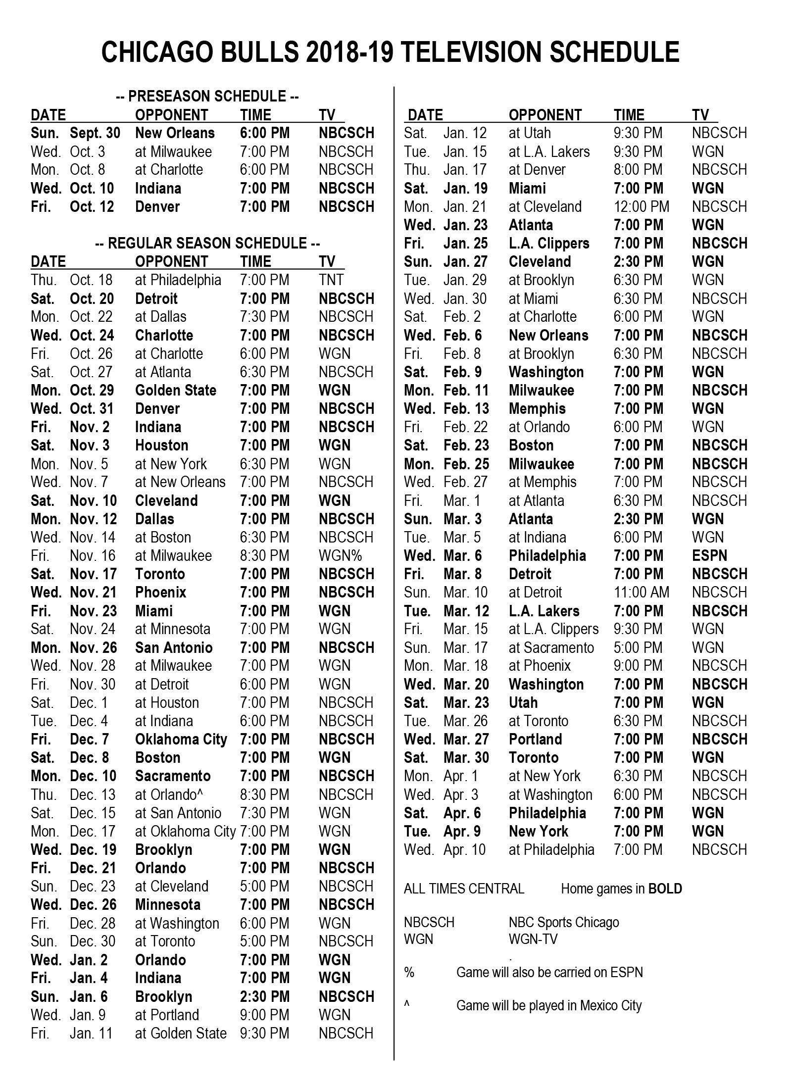 Bulls announce 201819 television schedule Chicago Bulls