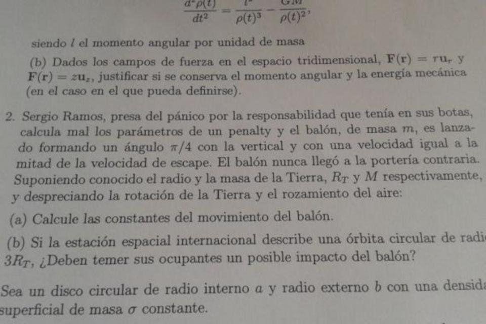 El penalti de Ramos es una pregunta de un examen de Física