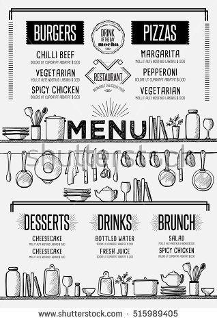 Cafe Menu Food Placemat Brochure Restaurant Template Design Creative Vintage Brunch Flyer With Hand Drawn Graphic Cafe Menu Design Menu Card Design Cafe Menu