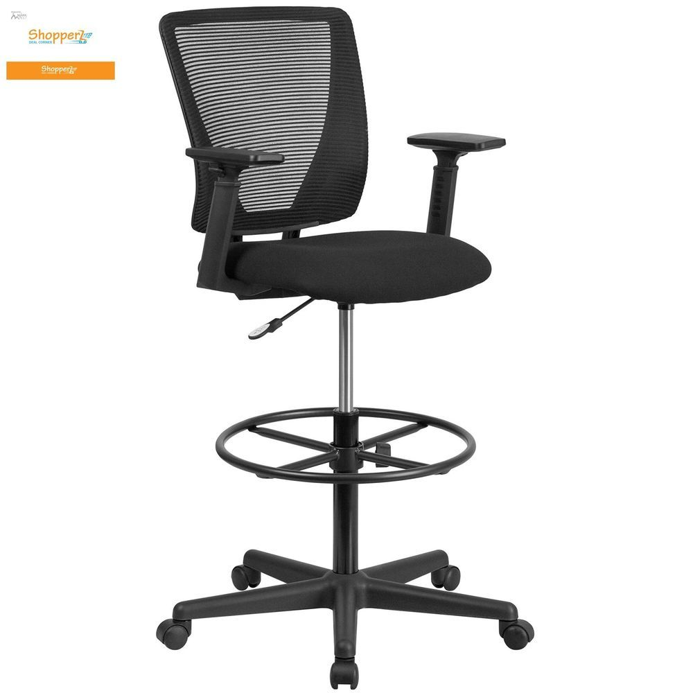 Mesh Mid Back Home Office Drafting Bar Counter High Stools Chairs Arm Or Armless Obiwansales Drafting Chair Fabric Seat Flash Furniture