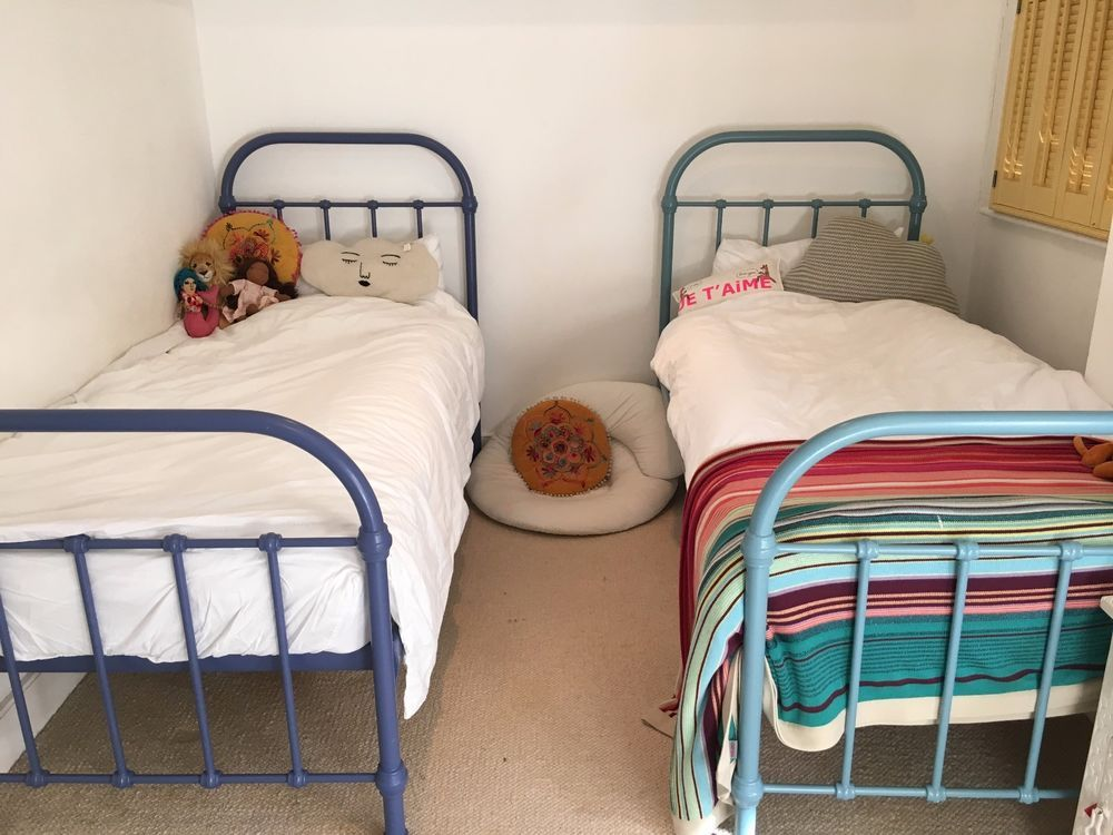 2 Single Childrens Iron Beds Feather And Black Painted Farrow