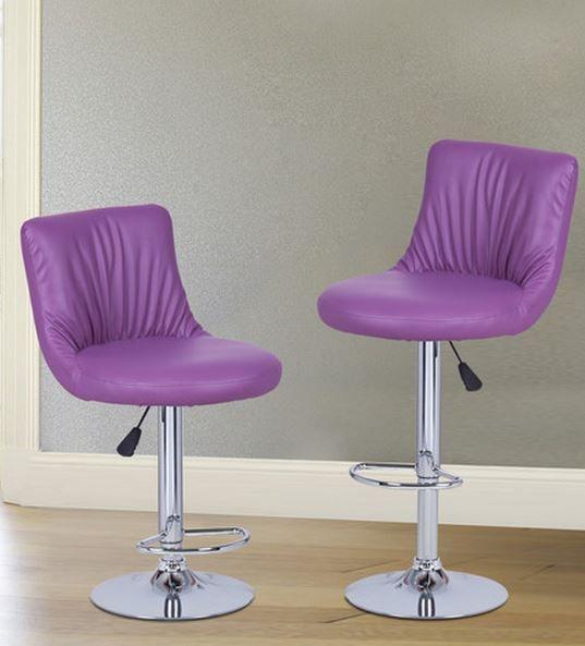 Purple Adjustable Swivel Bar Stools