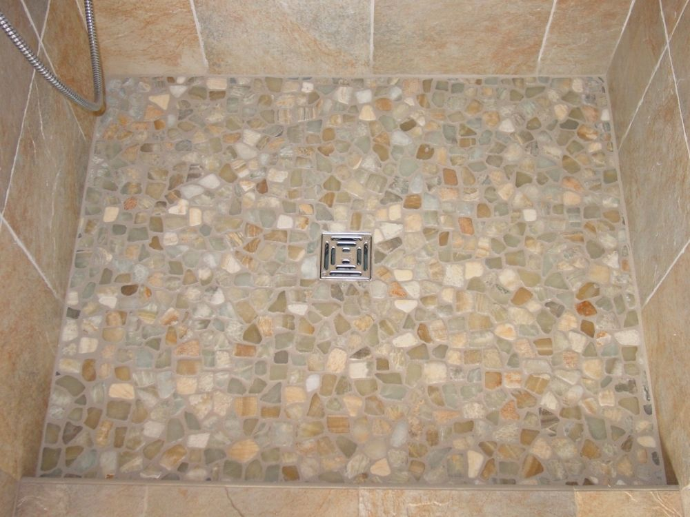 Master bath pebble tile shower floor (purchased at a big-box ...