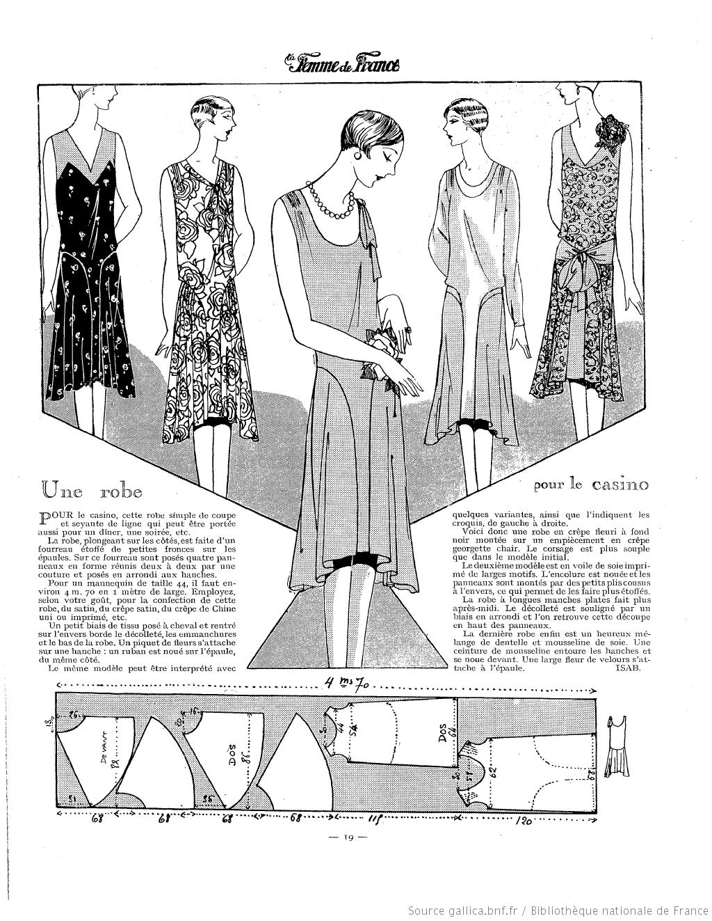 Robe de casino (La Femme de France 15/07/1928) | 1920\'s free pattern ...
