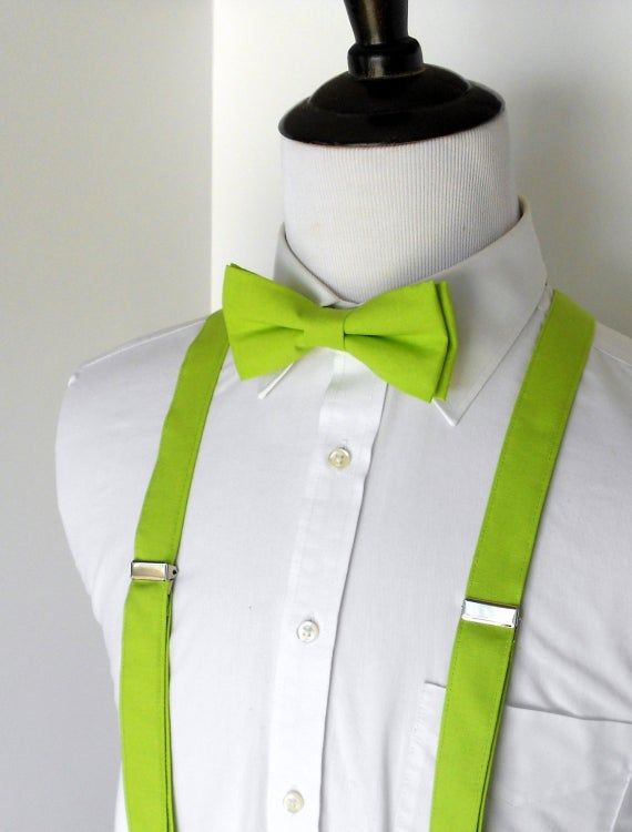 Lime Green Bow Tie and Suspenders