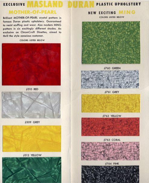 1950s Chromcraft Dinette Furniture Color Chart Vintage