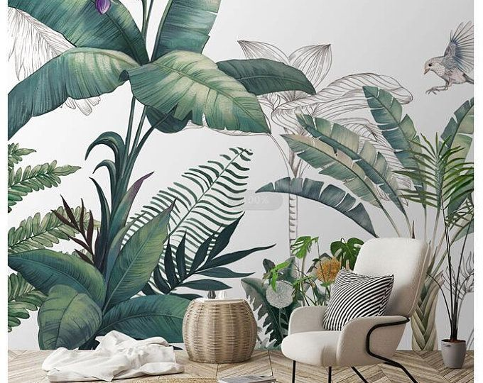 Simple Hand Painted Tropical Leaves Wall Mural Wallpaper Palm Etsy In 2020 Plant Wallpaper Rainforest Plants Wallpaper Walls Bedroom Free for commercial use no attribution required high quality images. pinterest