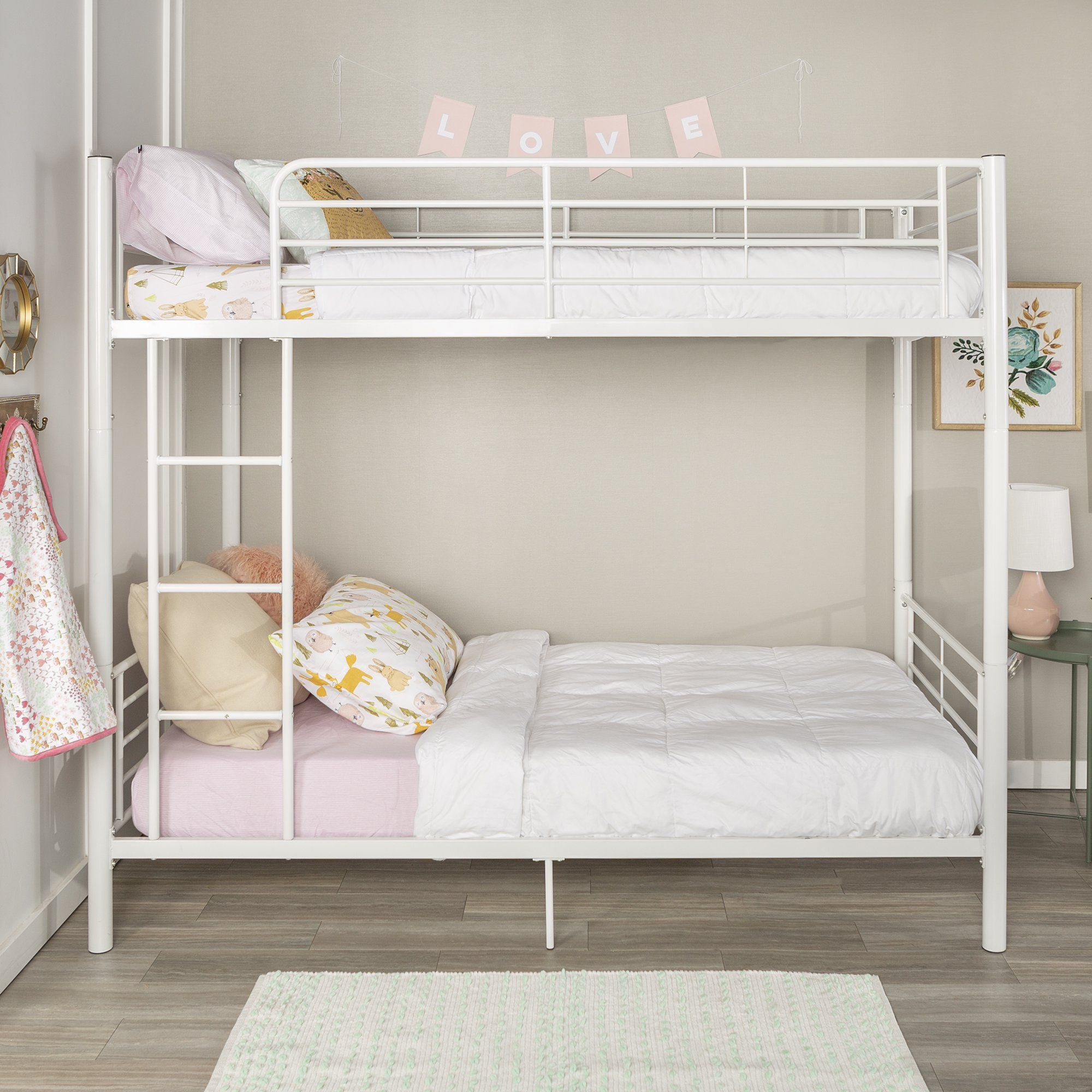 Premium Twin Over Twin White Metal Bunk Bed by Manor Park