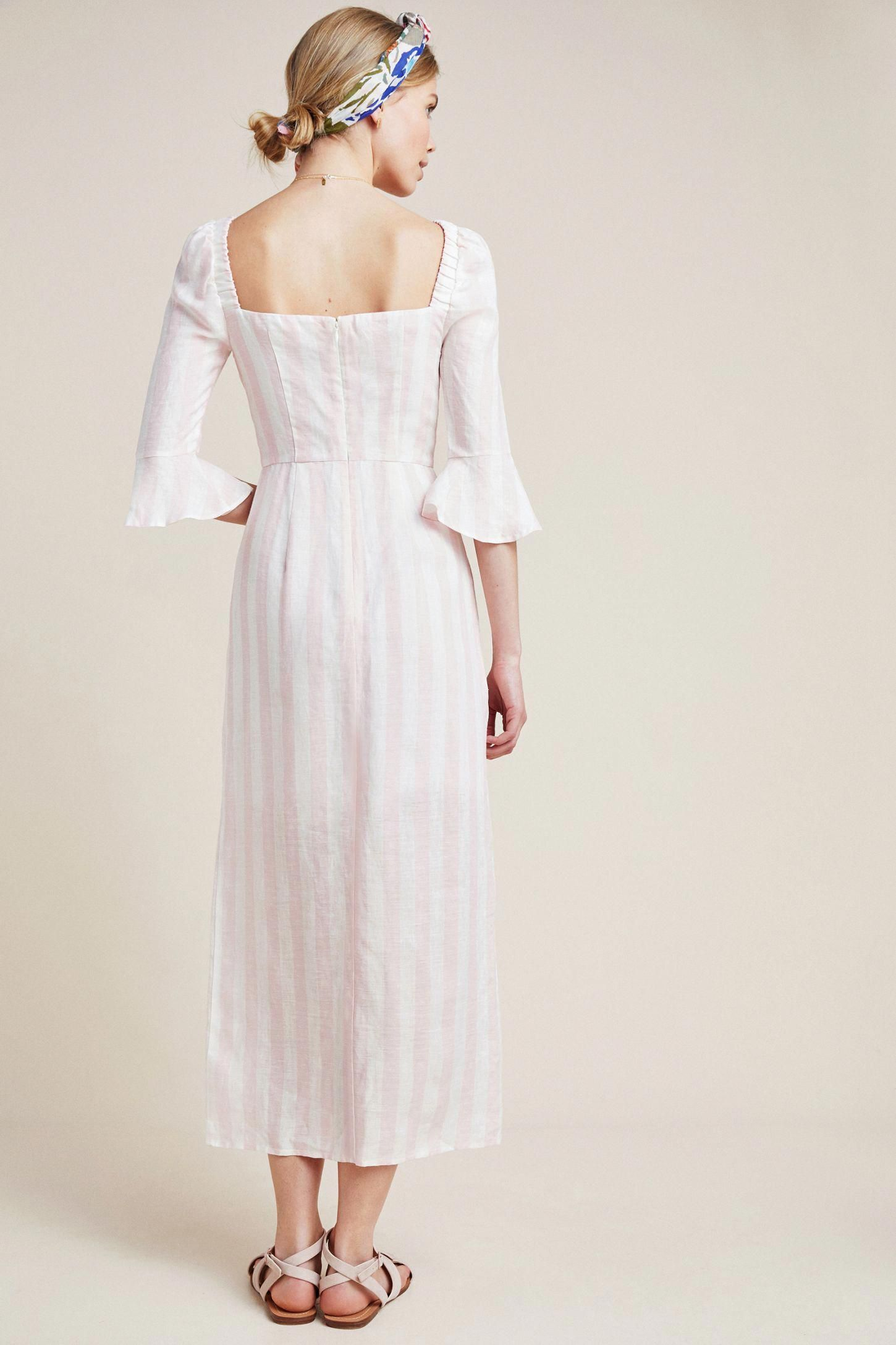 Slide View 3 Structured Linen Midi Dress Linenweddingdresses Midi Wedding Dress Ball Gown Wedding Dress Dresses [ 2175 x 1450 Pixel ]