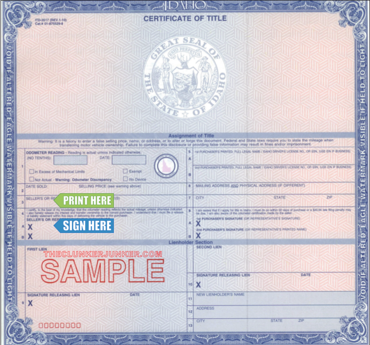 Cash For Your Car In Idaho Free Same Day Pickup Free Printable Certificate Templates Money Template Passport Template