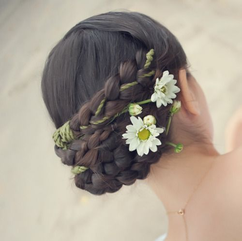 braid, brunette, cool, cute, dark hair, fashion, flower, flowers, girl, girly, hair, hairstyle, inspiration, inspirations, photography, style, wedding, woman