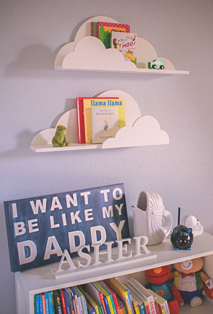 Cloud shelf for kids room baby nursery wall decor hanging for Bed decoration with balloons