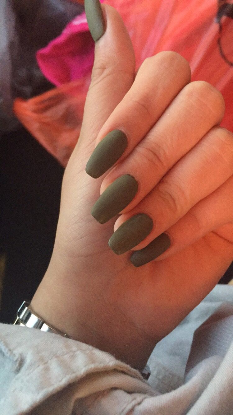 Olive Green Matte Nails Green Acrylic Nails Matte Olive Green Nails Green Nails