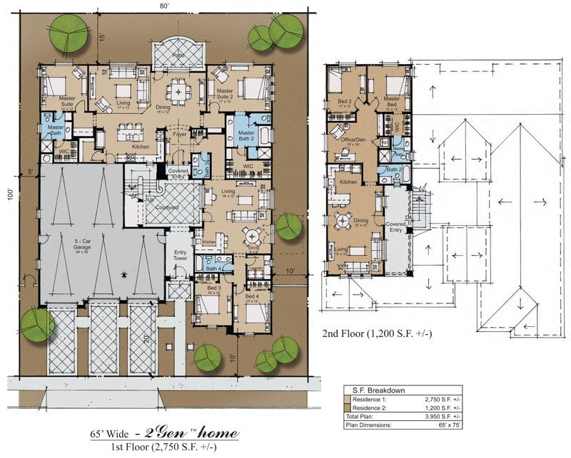 3gen Hacienda Plan Separate Back Two Master Bedrooms Into One Living Space Section Off S Multigenerational House Plans New House Plans Multigenerational House