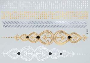 Gold Silver Black | Metallic Jewelry Flash Tattoo stickers sheet W-115 size 21x15cm